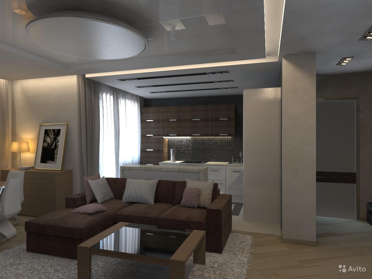 Дизайн проекты студии гостинной и кухни в квартирах
