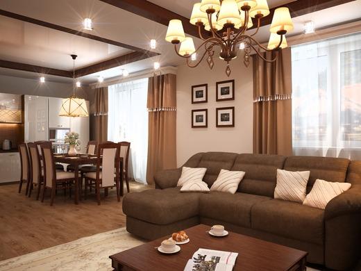 Дизайн гостиной в коттеджей