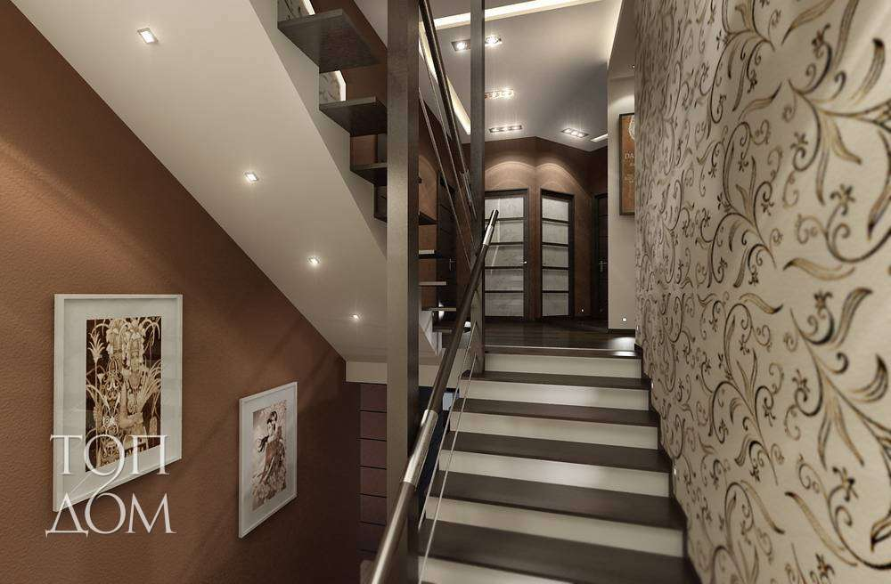 Фото интерьера с лестницей на второй этаж