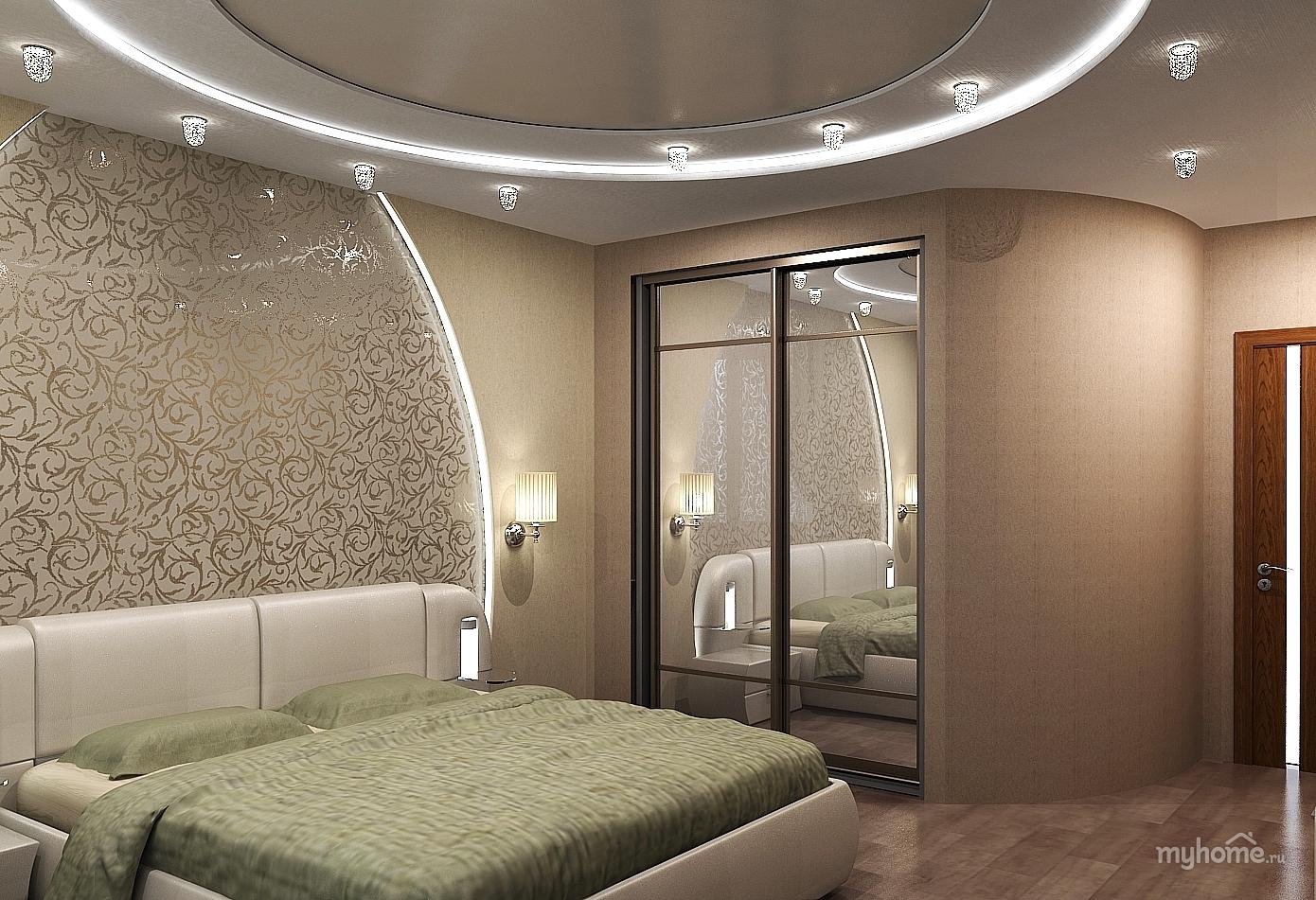 Дизайн маленькой спальни со шкафом купе