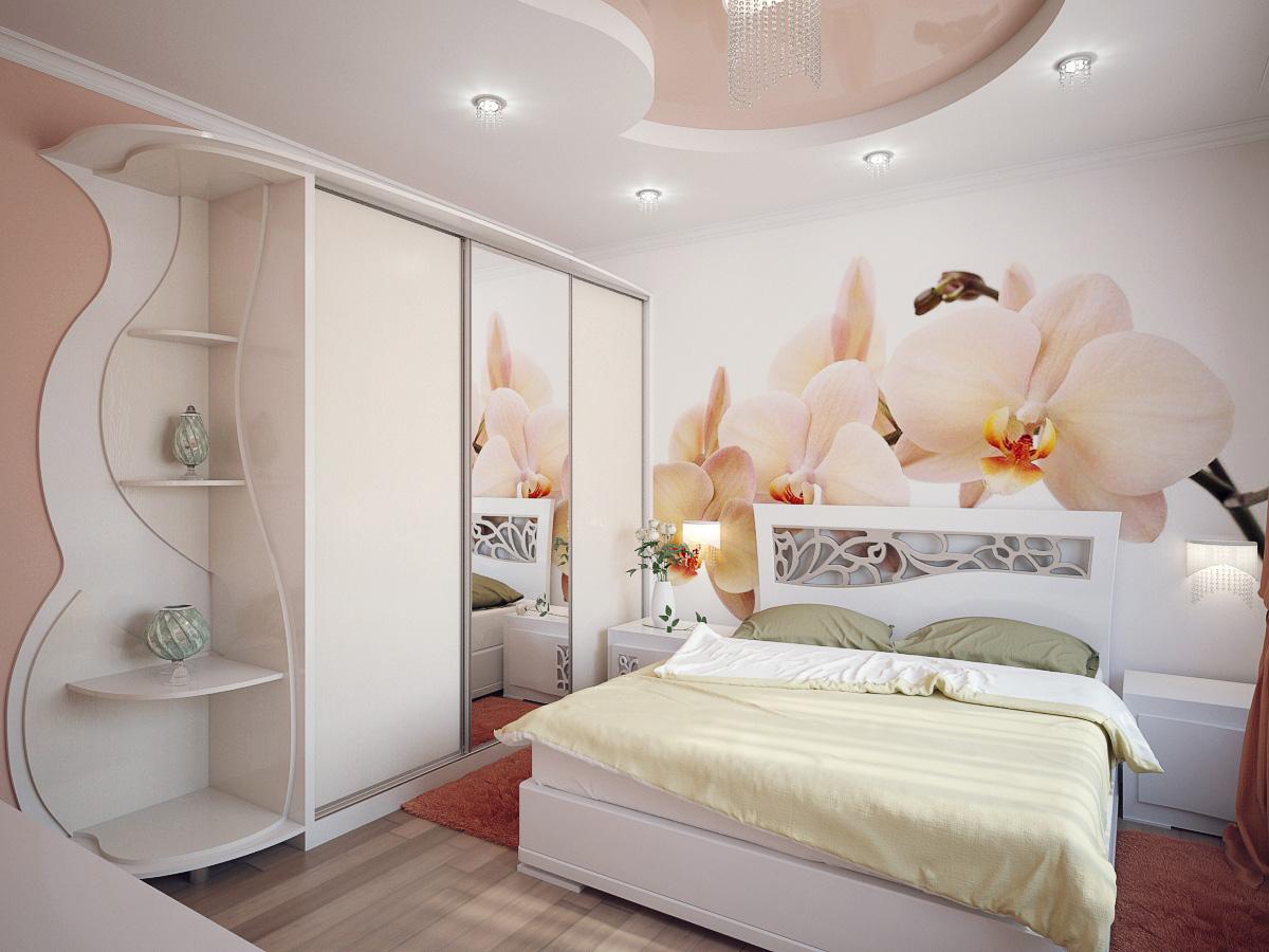 """Дизайн спальни со встроенным шкафом фото """" современный дизай."""