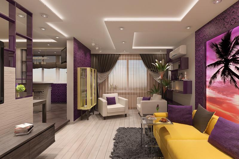 Дизайн интерьера трёхкомнатной квартиры фото