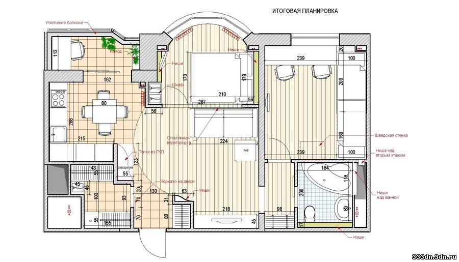 Дизайн и перепланировка квартиры с