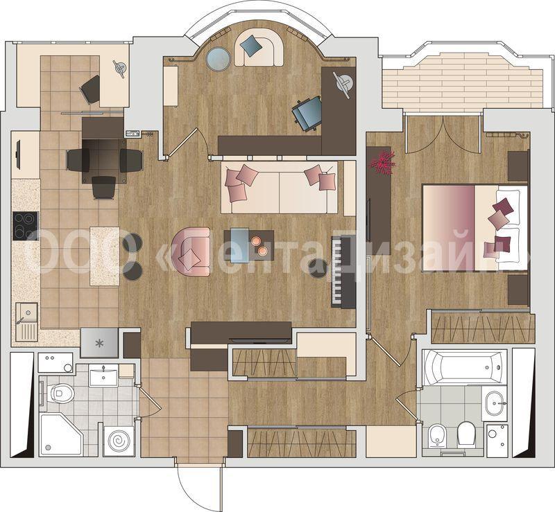 """Дизайн проект 2-х комнатной квартиры """" современный дизайн."""