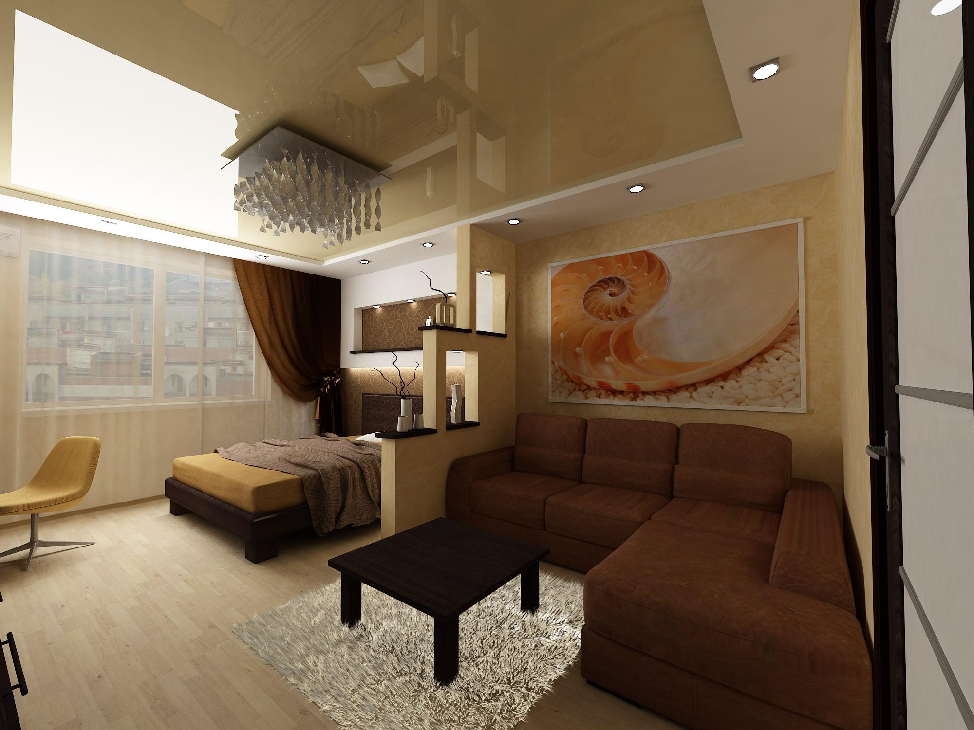 Дизайн интерьера спальня гостиная