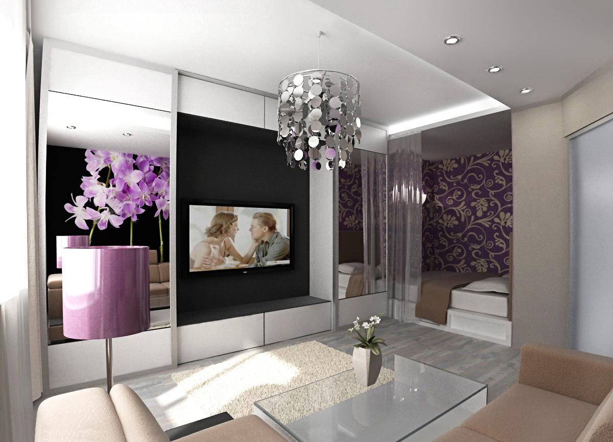 Фото дизайн совмещенные спальня и зал