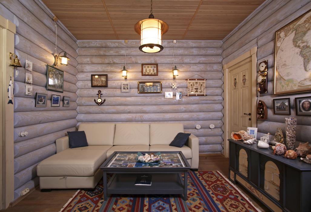 Дом из оцилиндрованного бревна дизайн интерьер