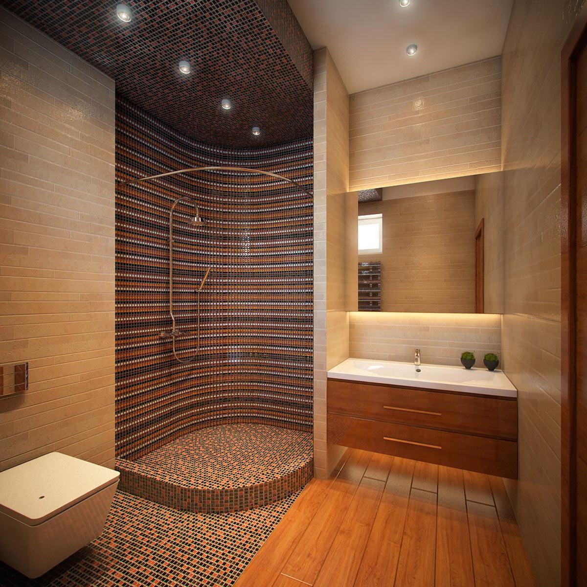Дизайн ванной с душевыми кабинами комнаты