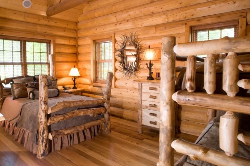 Фото интерьера деревянного дома из оцилиндрованного бревна внутри 30