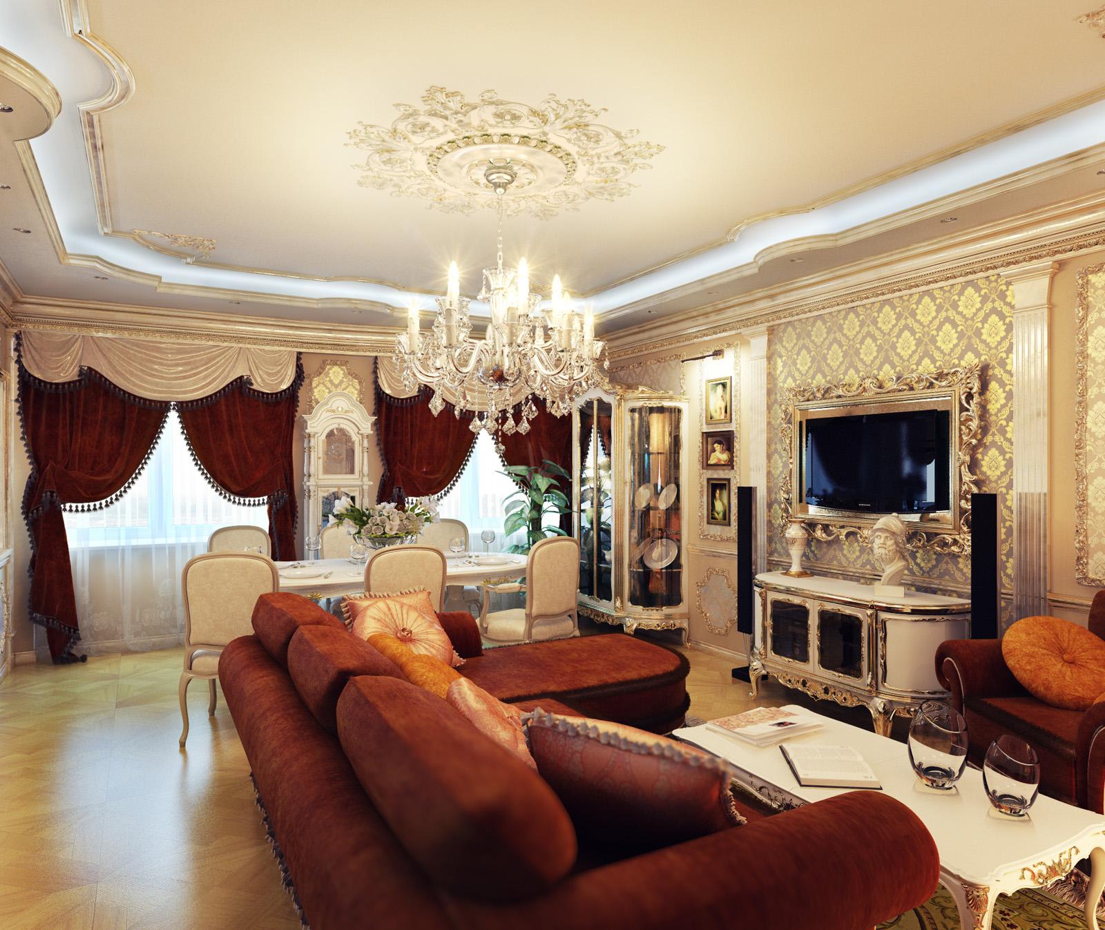 Интерьер гостиной дизайна в классическом стиле