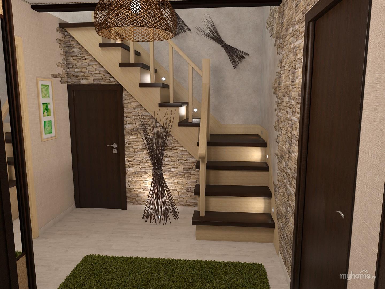 Коридор с лестницей в доме дизайн