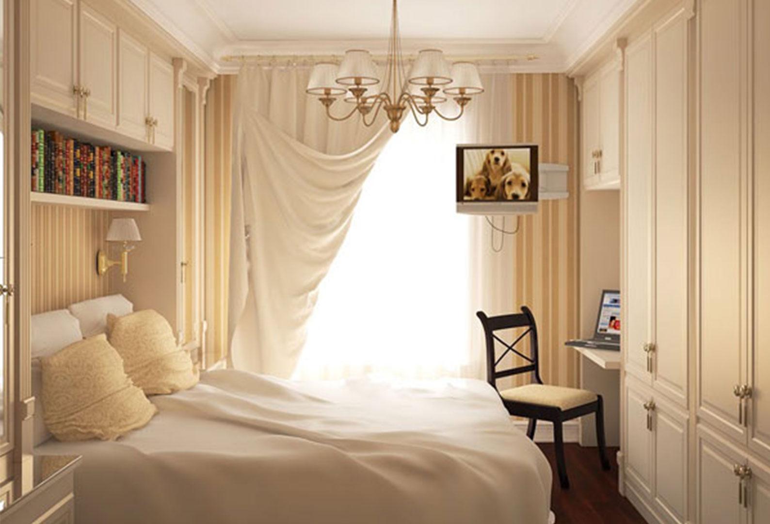 Интерьер спальни для маленькой комнаты фото
