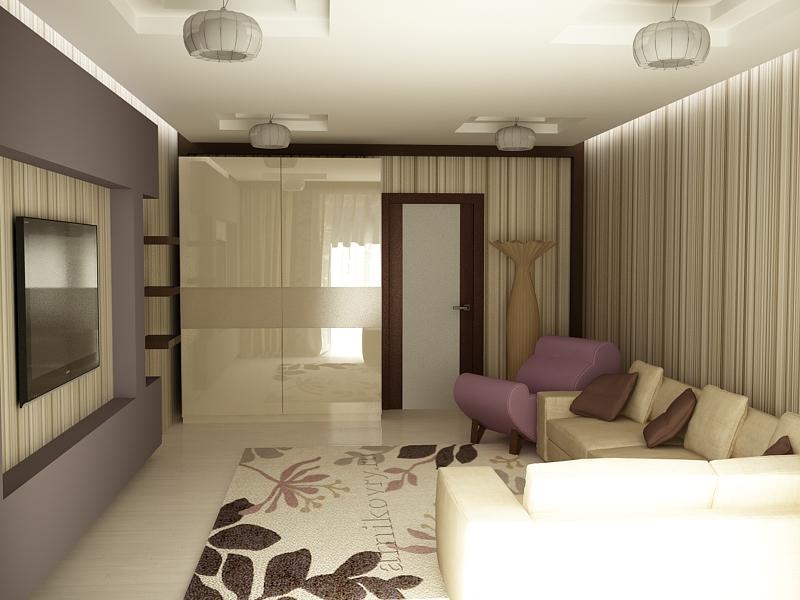"""Интерьер жилой комнаты 18 кв м """" современный дизайн."""