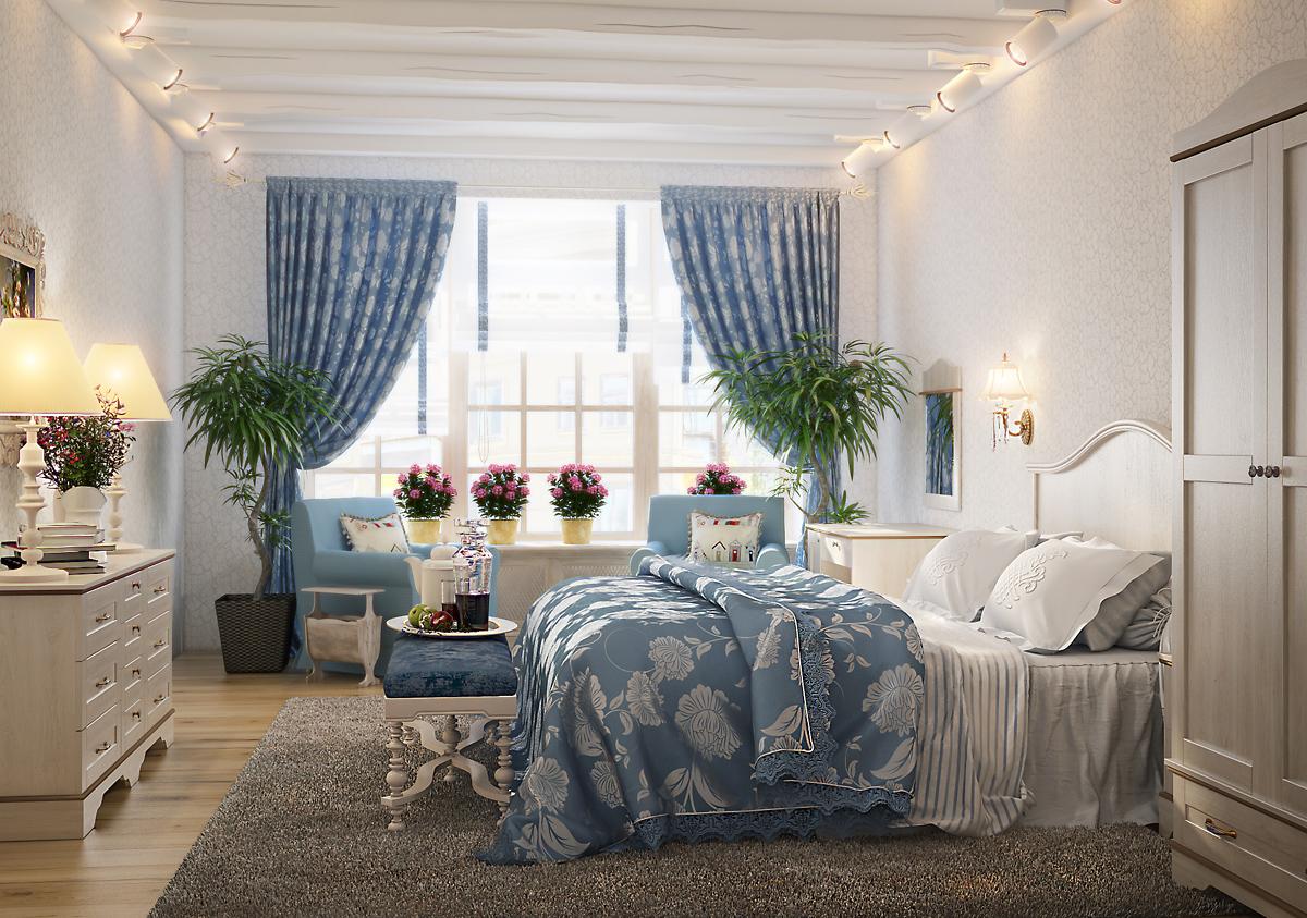 Дизайн окна спальни прованс
