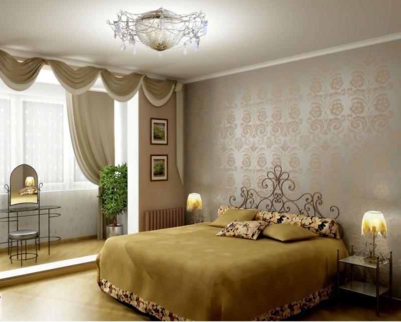 """Дизайн узкой спальни с лоджией """" современный дизайн."""