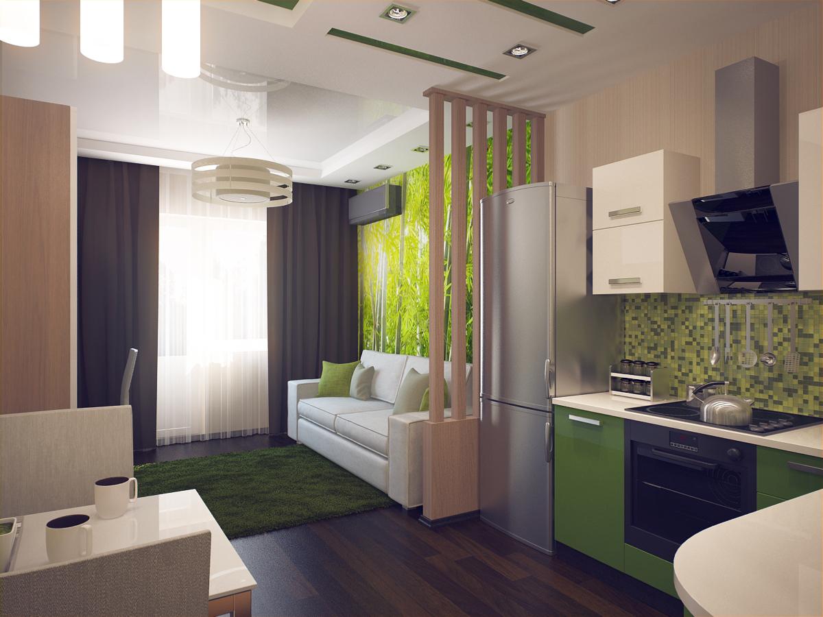 Дизайн квадратной однокомнатной квартиры