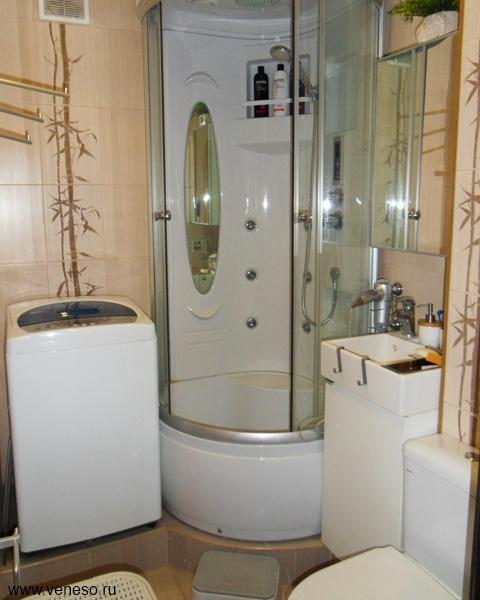 Дизайн совмещенного санузла в хрущевке с душевой кабиной