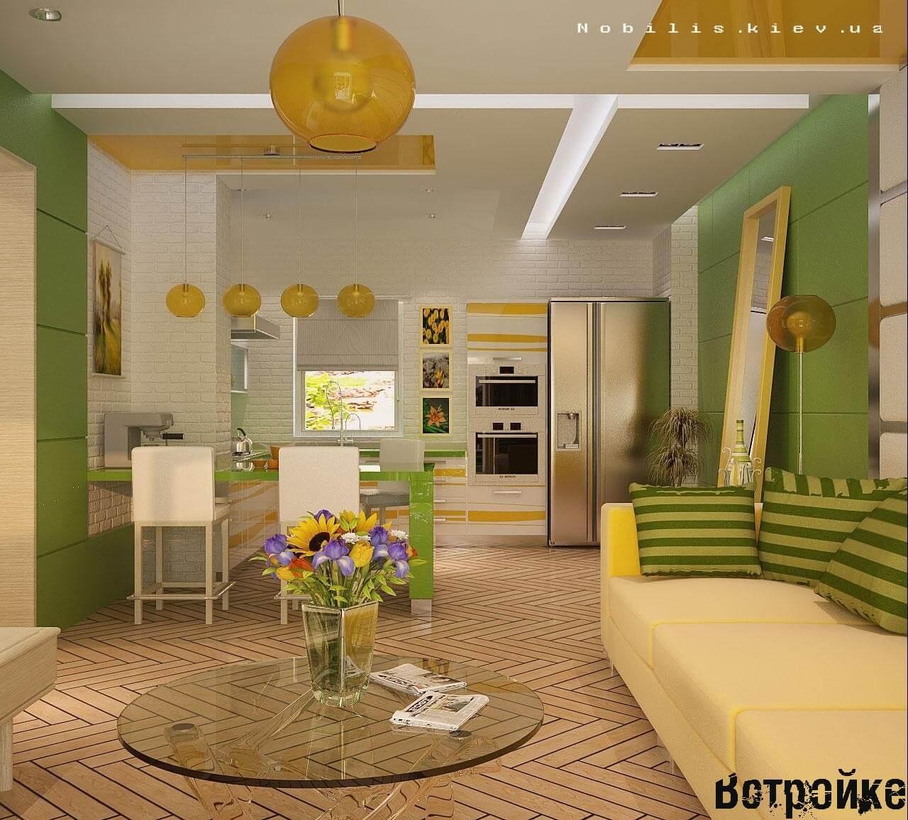 Интерьер гостиной, совмещенной с кухней (50)