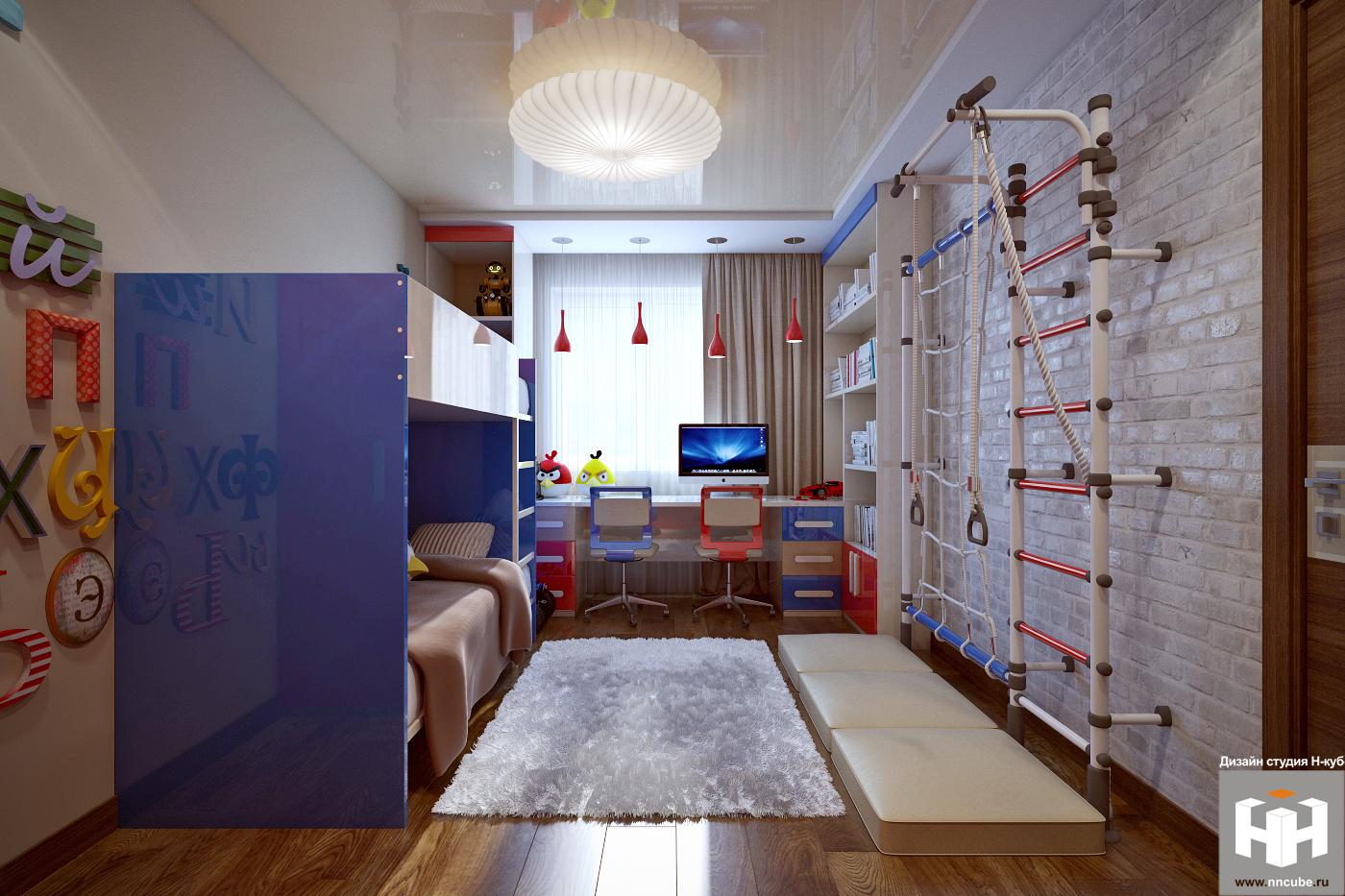 Интерьер детских комнат для 2 мальчиков фото