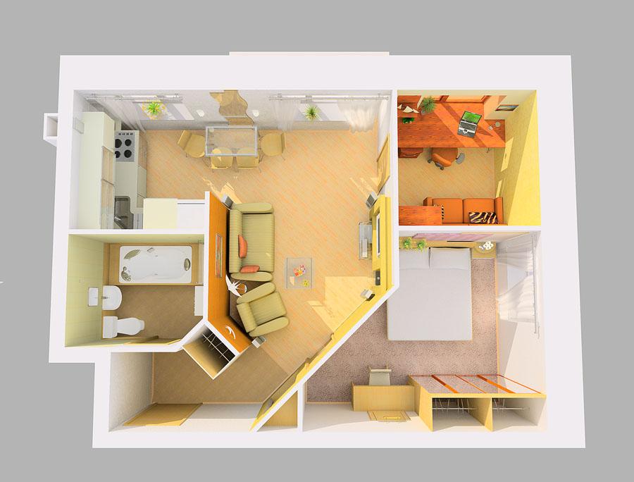 Дизайн в двухкомнатной квартире с ребенком