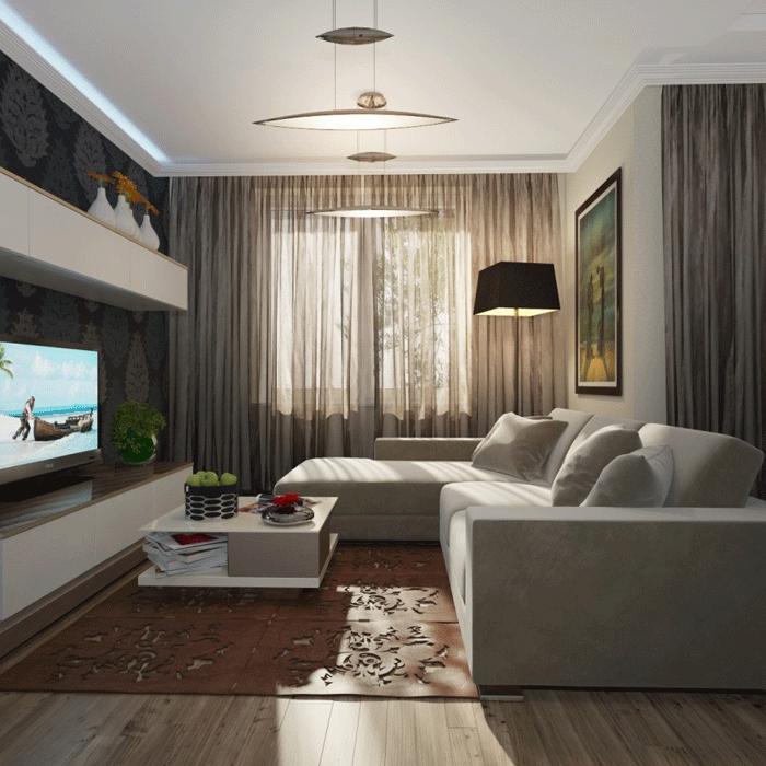 Дизайн гостиной 20 метров с угловым диваном