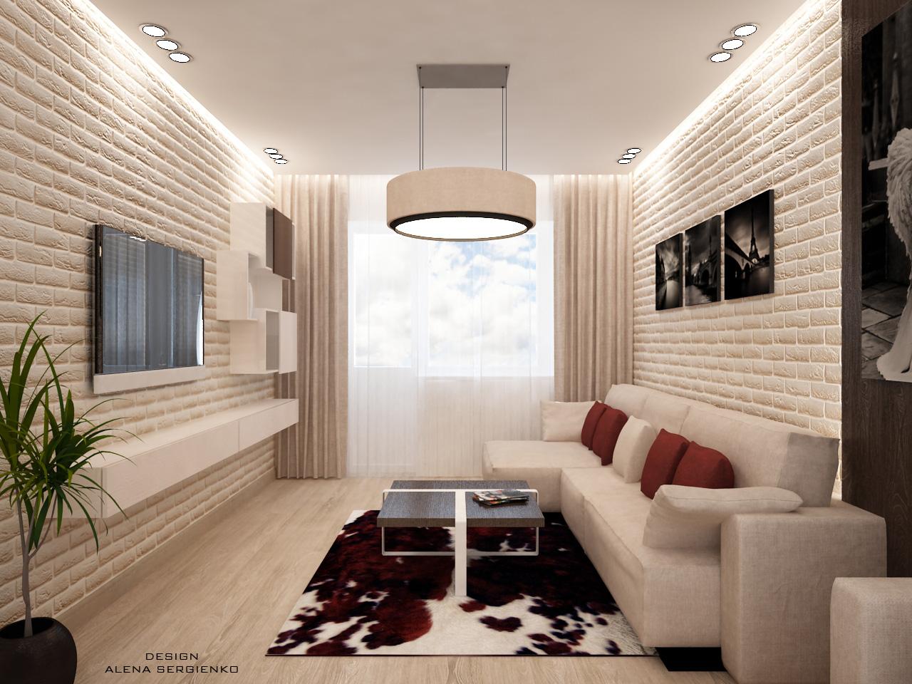 """Дизайн узкой гостиной фото """" современный дизайн."""