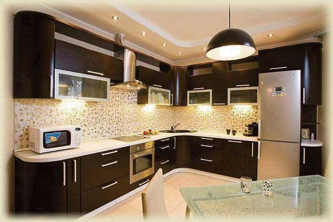 Фото дизайна кухни в цвете венге