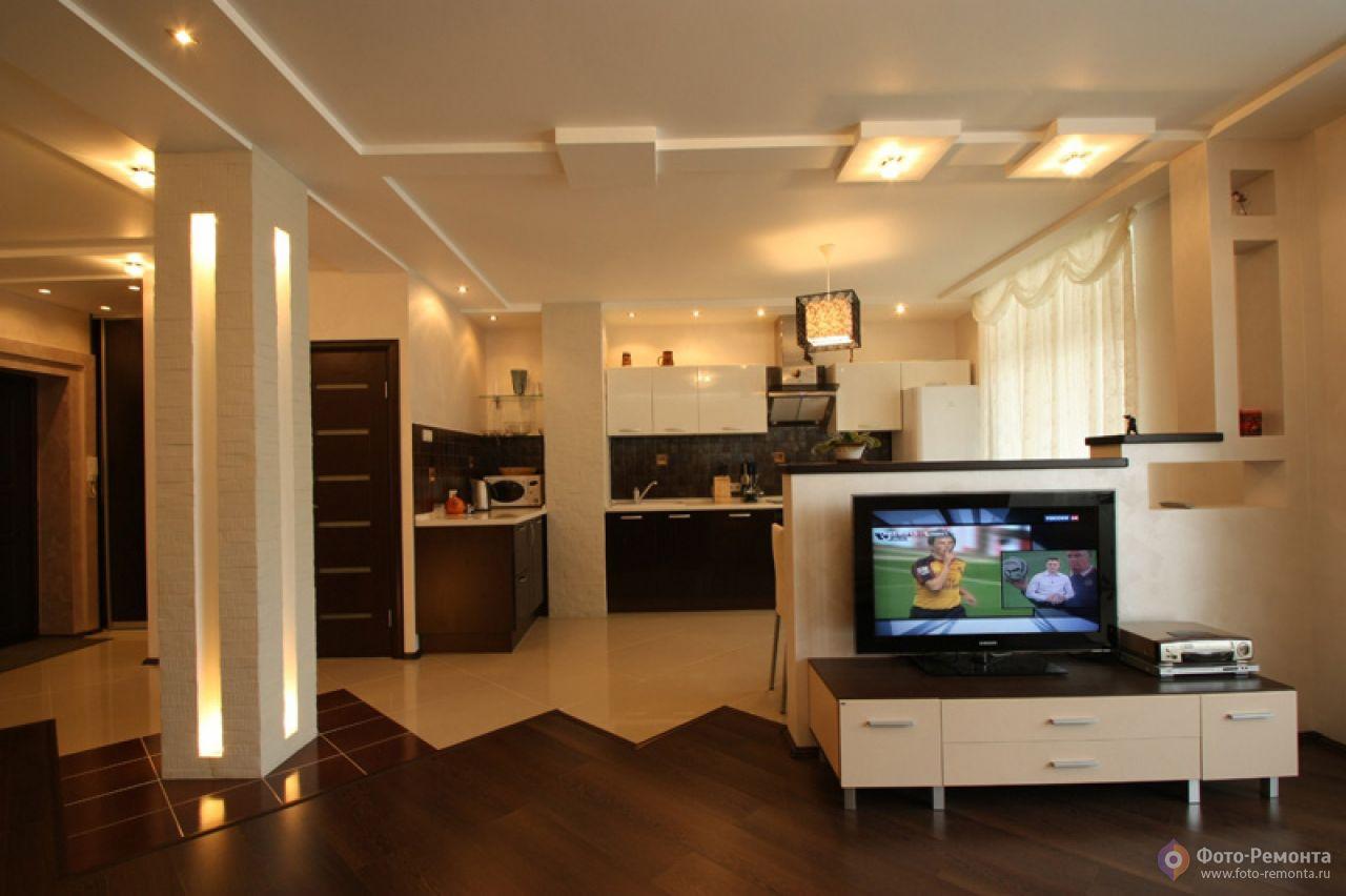 Фото ремонта кухни гостиной