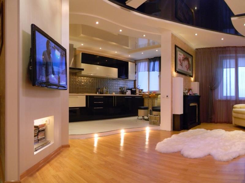 Фото дизайн квартиры совмещенной с кухней