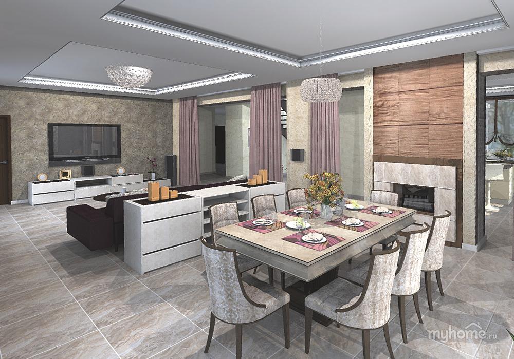 Дизайн столовой-гостиной в загородном доме