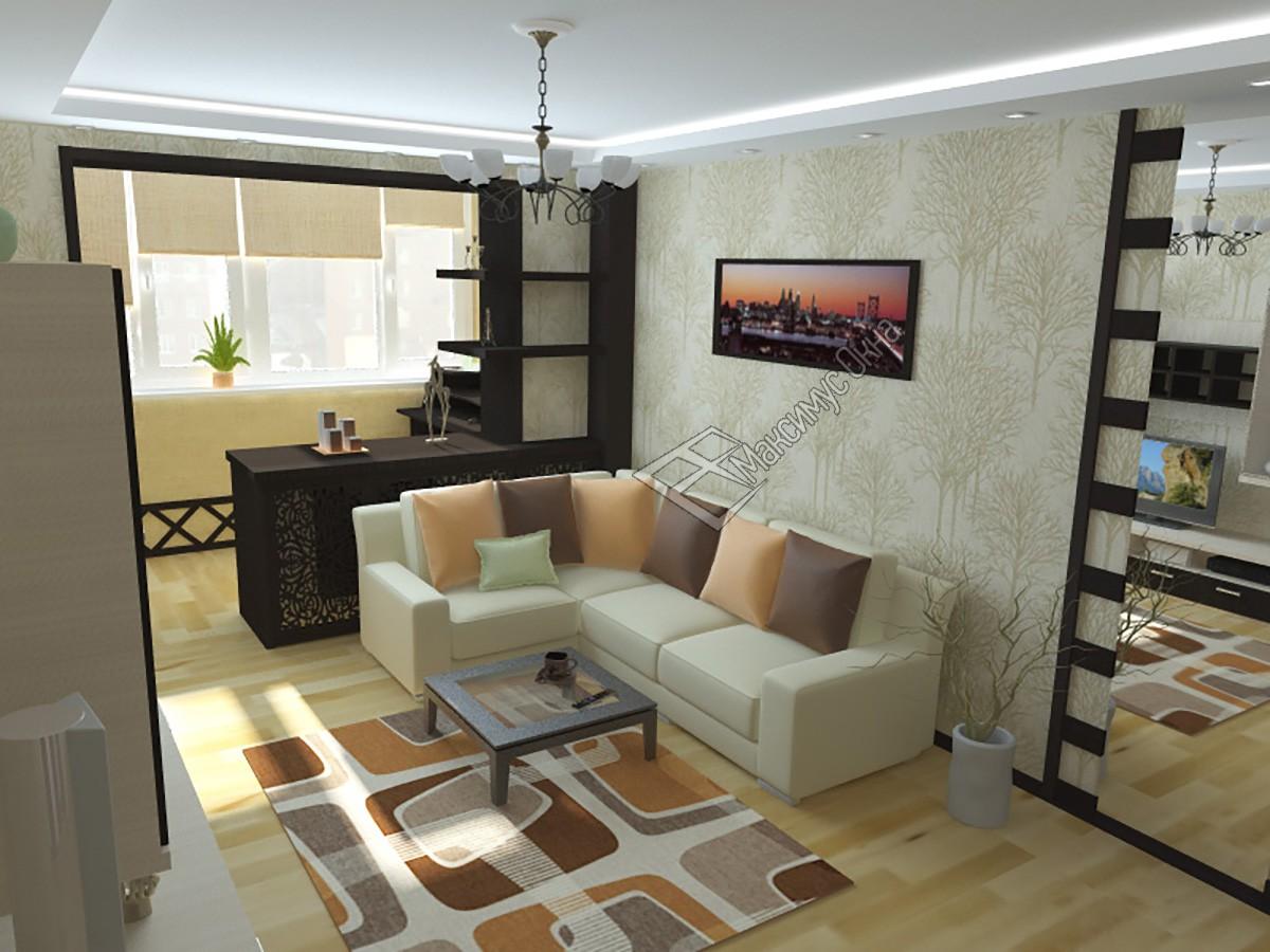 Дизайн гостиной совмещенной с лоджией: фото интерьера.