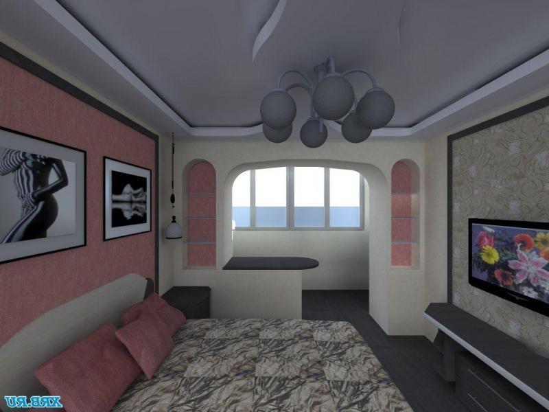 """Дизайн зала совмещенный с балконом """" современный дизайн."""