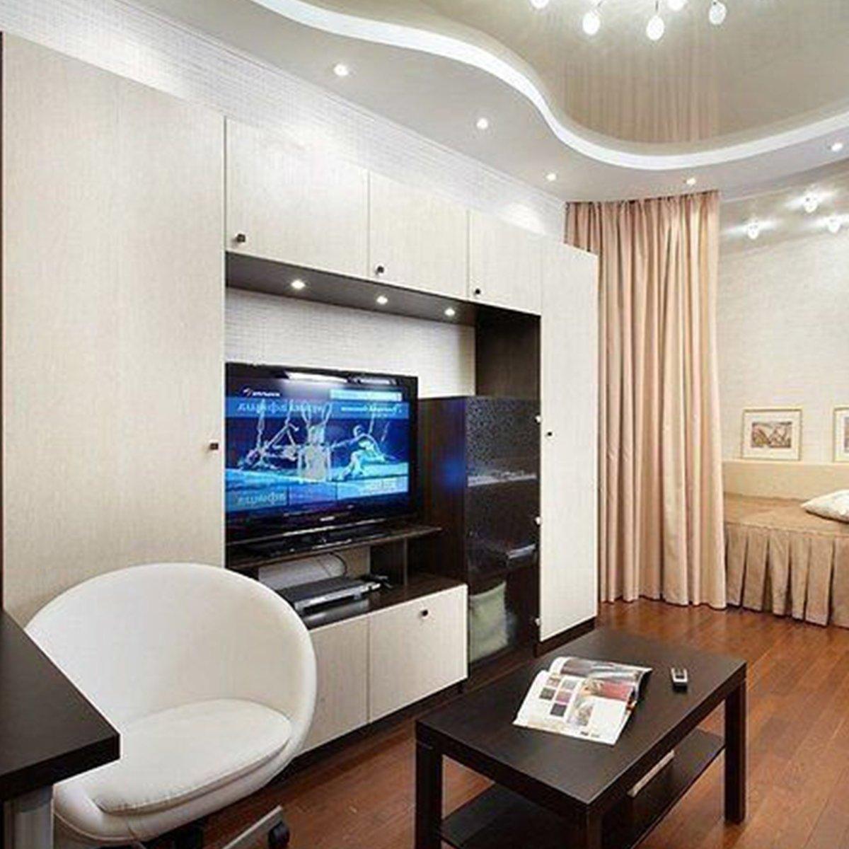 Интерьер комнаты однокомнатной квартиры фото