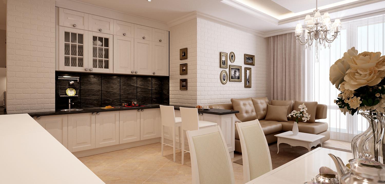 Фото дизайна кухни и гостиной в светлых тонах