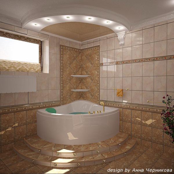 Дизайн угловой ванной комнаты в доме