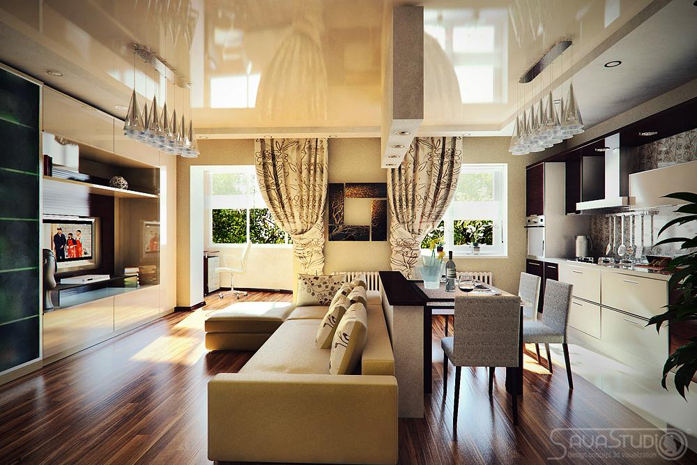 Фото интерьер гостиной столовой
