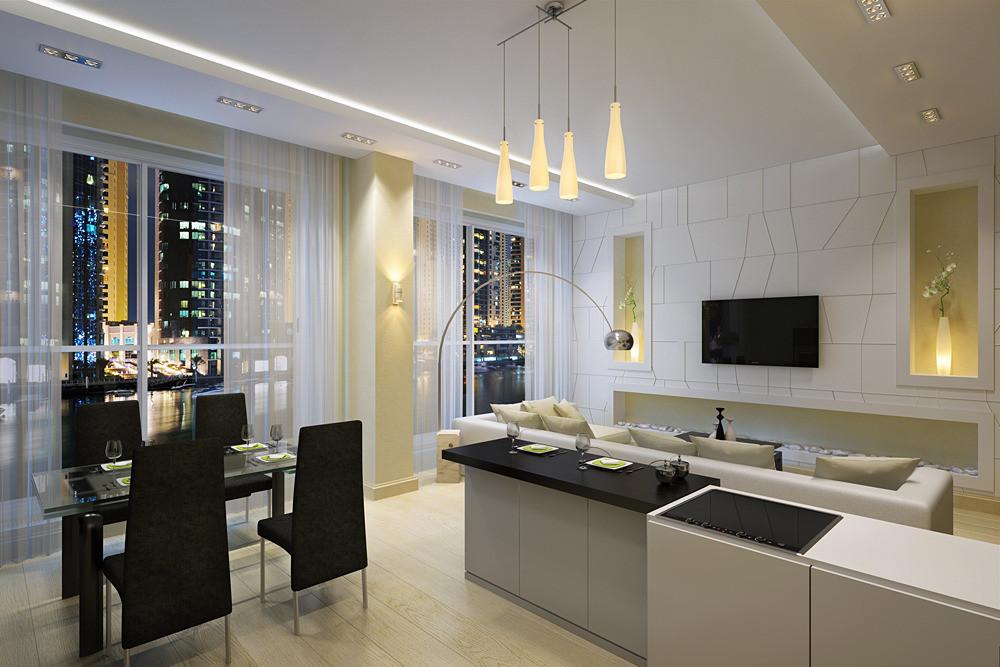 Дизайн интерьера кухни с гостиной в современном стиле фото