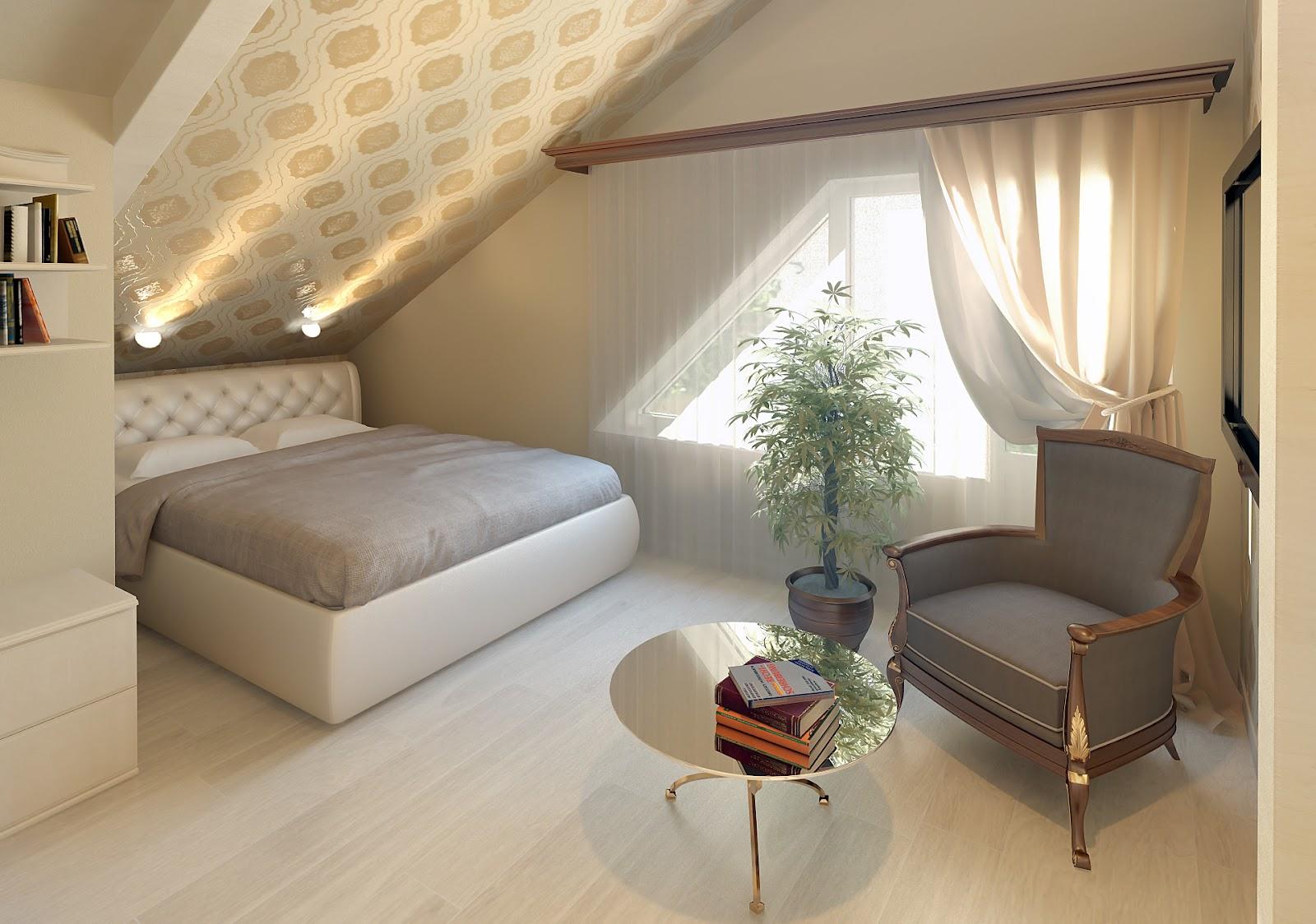 Дизайн комнаты мансардного типа