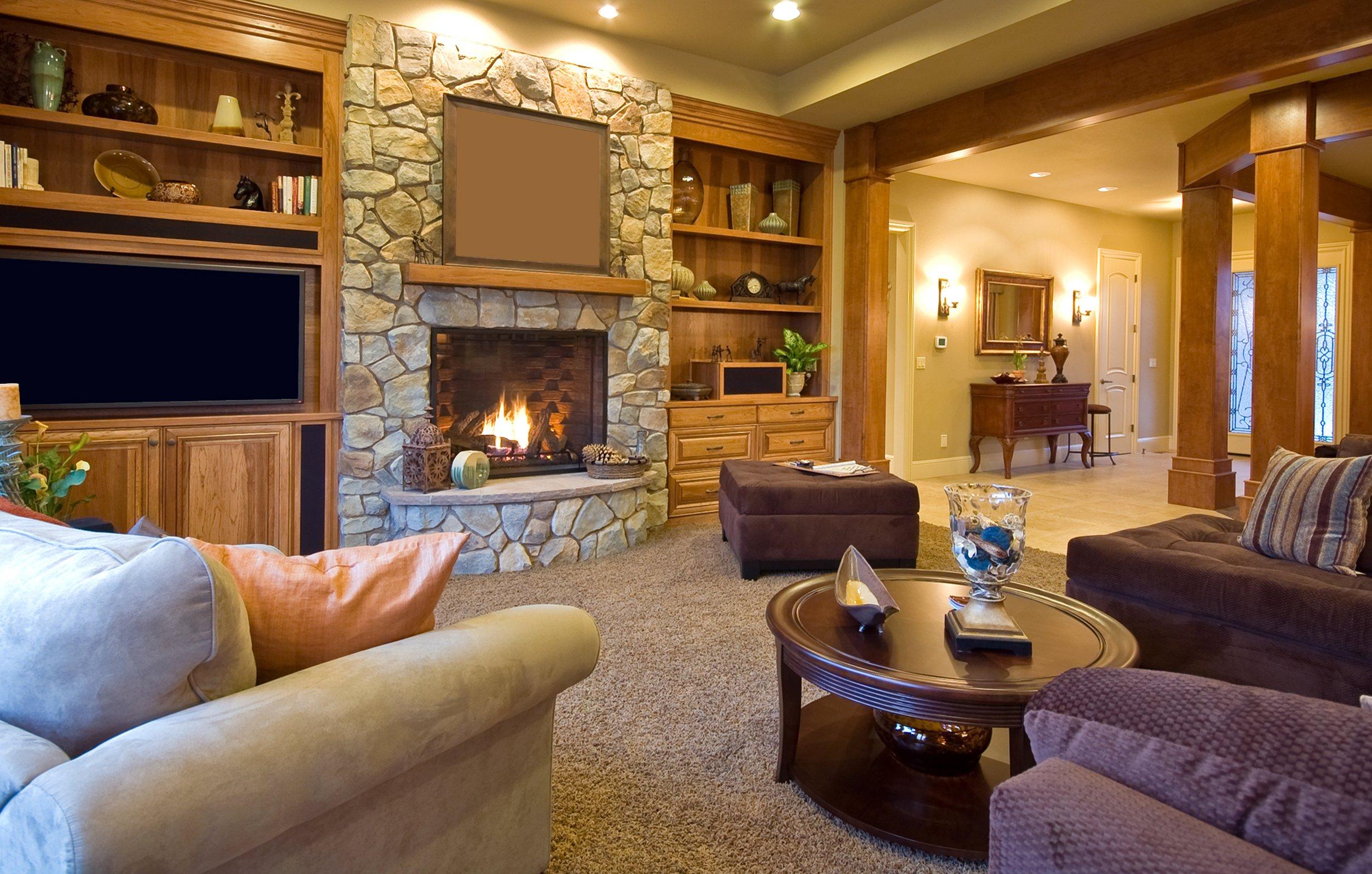 Дизайн зала з каміном дизайн
