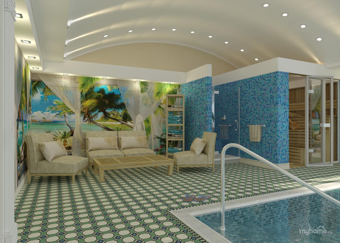 Сауна дизайн с бассейном