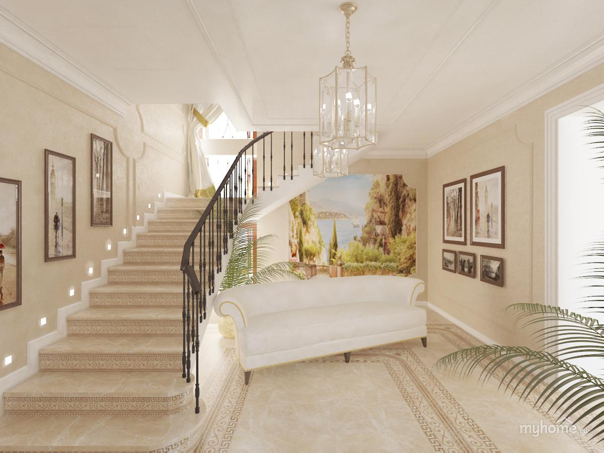 Интерьер холла в частном доме фото с лестницей
