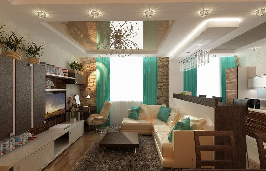 Совмещение кухни-гостиной дизайн