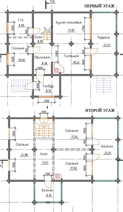 проекты домов 12 на 12 двухэтажный с чертежами холодное