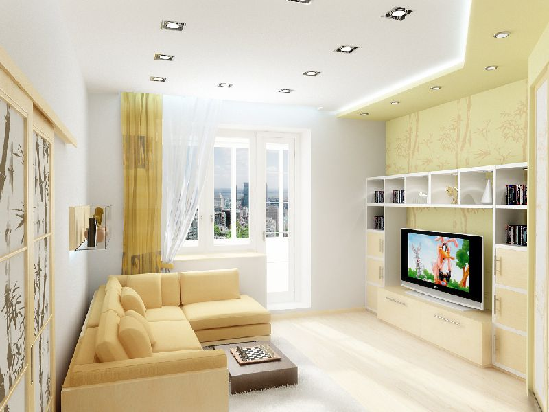 Квадратная гостиная дизайна