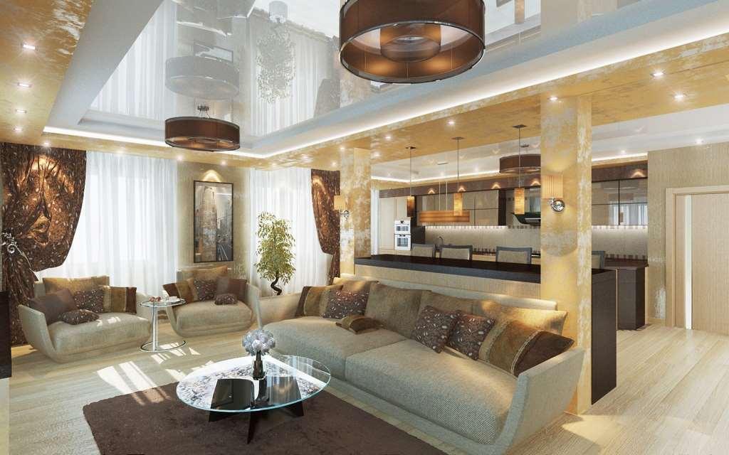 Дизайны гостиной в коттеджах