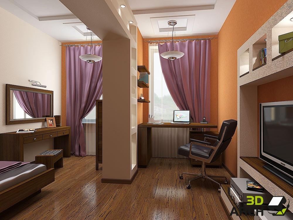 Продумываем зонирование и дизайн интерьера комнаты 18 кв.м..