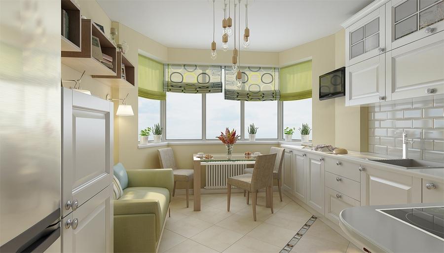 Кухня 9 квм с эркером дизайн.