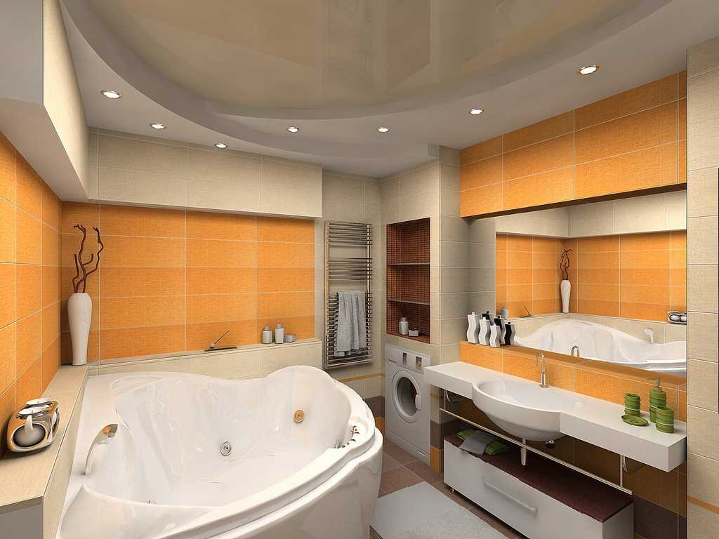 Дизайн ванной комнаты углом