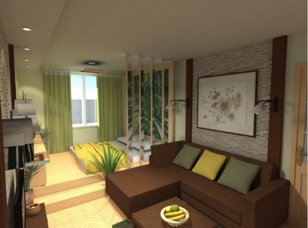 """Дизайн интерьера однокомнатной квартиры с ребенком """" совреме."""