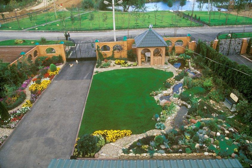 Дизайн двора частного дома своими руками видео